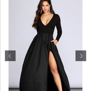 Windsor High Slit Taffeta Dress (New with tags)